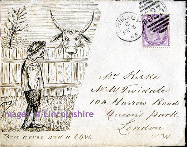 Three_Acres_and_a_Cow_1886_Envelope_Grimsby_to_London