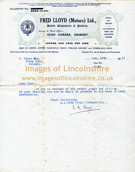 1933_Letter_from_Fred_Lloyd_Motors_Ltd_to_Fred_Bacon