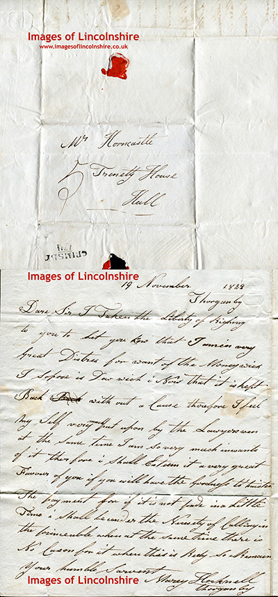 1822_Letter_from_Mary_Hocknell_of_Thorganby