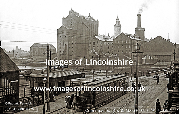 Corporation_Road_Tramway_Station_and_Marshalls_Mill_Grimsby_c1914_JMJ